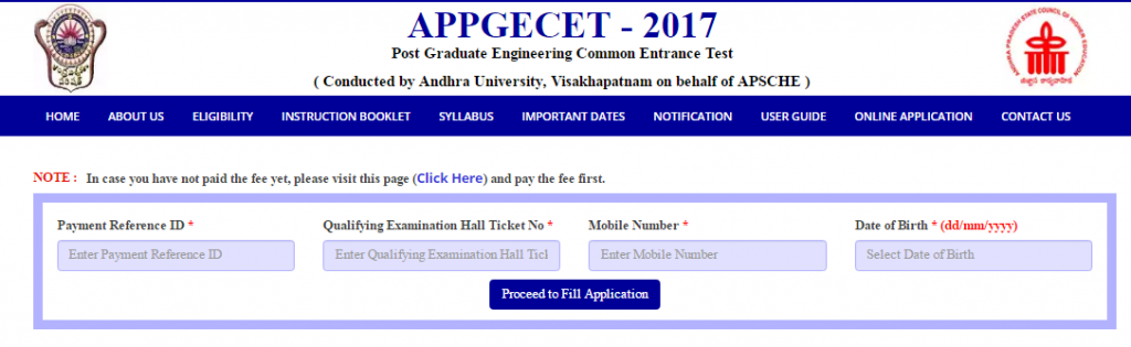 AP PGECET Application Form 2017