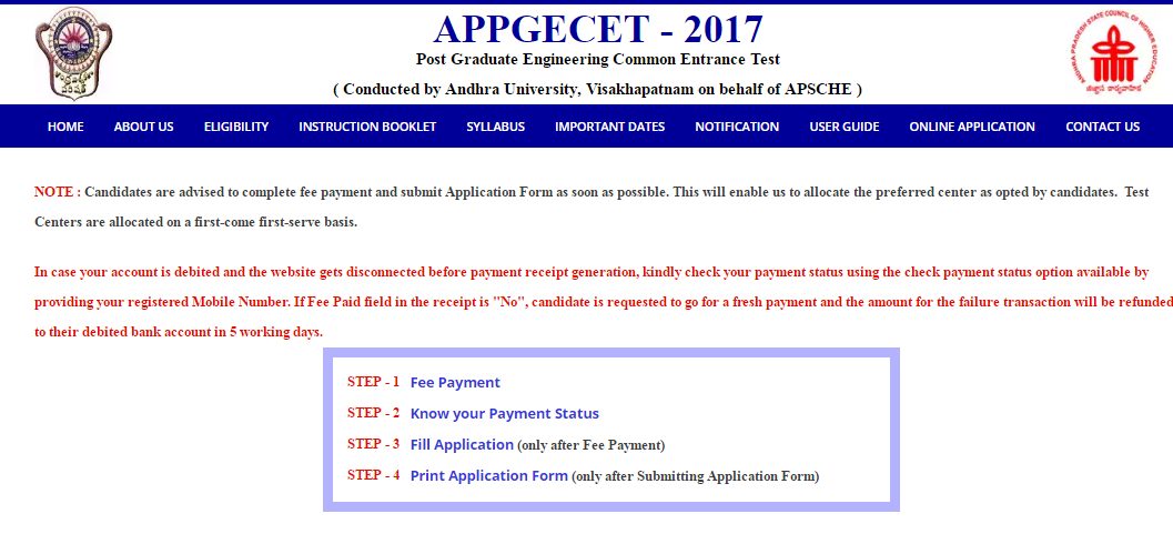 AP PGECET Online Application